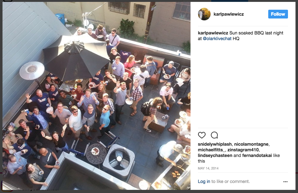 This is an image from an Olark customer BBQ. Talking to customers doesn't only have to be online. Invite them out for a fun event, like a cookout, and talk to them in person. Make your business human!