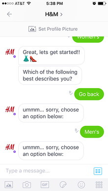 Unfortunately the H&M chatbot has limitations to its natural language processing (NLP).