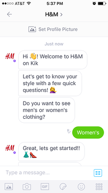 Customers can chat with the H&M chatbot for retails questions.