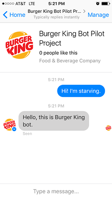 The Burger King chatbot can help customers order hamburgers and fries.