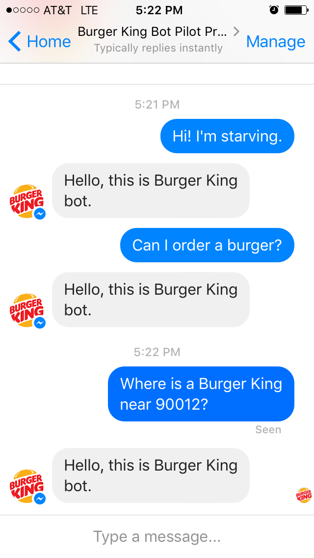 Unfortunately the Burger King chatbot had limits to what it could understand.