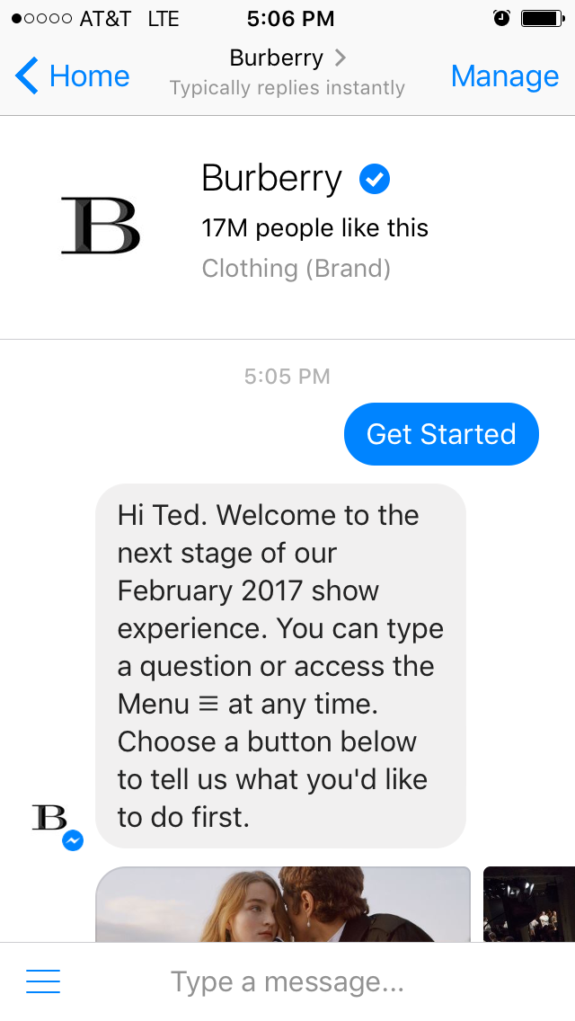 The Burberry chatbot is a nice blend of bot and human responses.