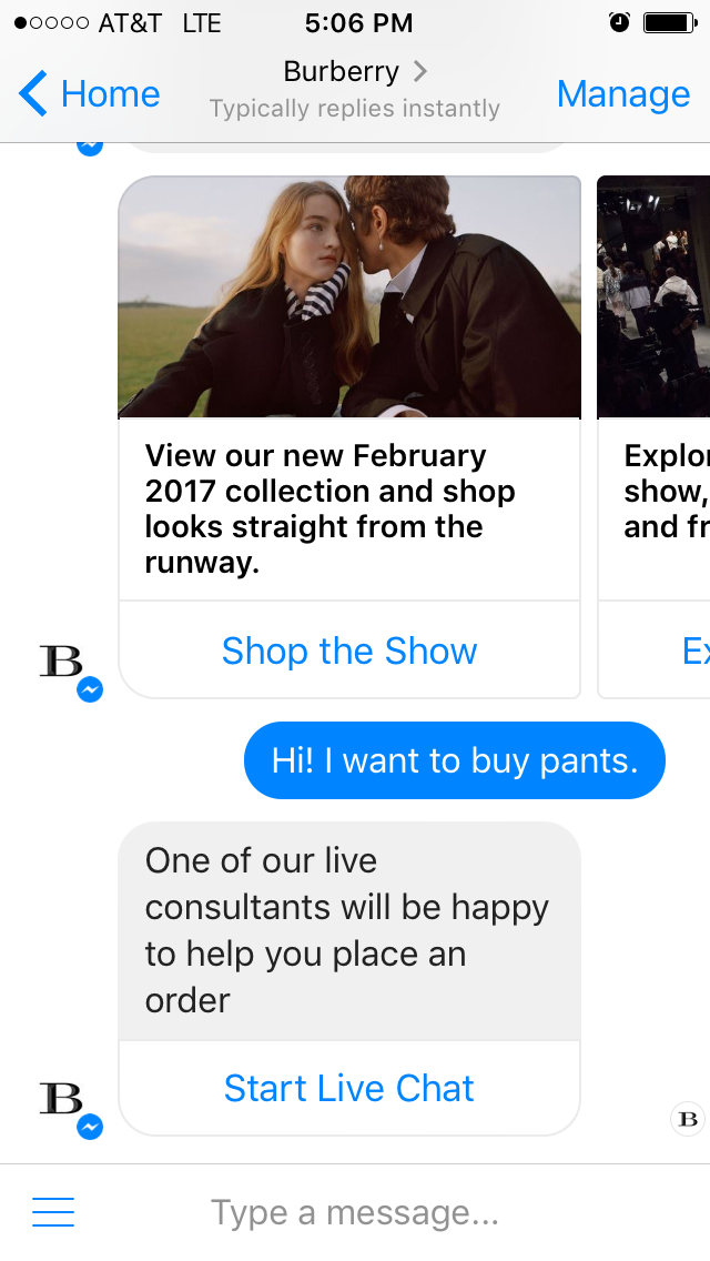 If a customer is having trouble with the Burberry chatbot, they can request to speak with a real human being to have their questions answered.