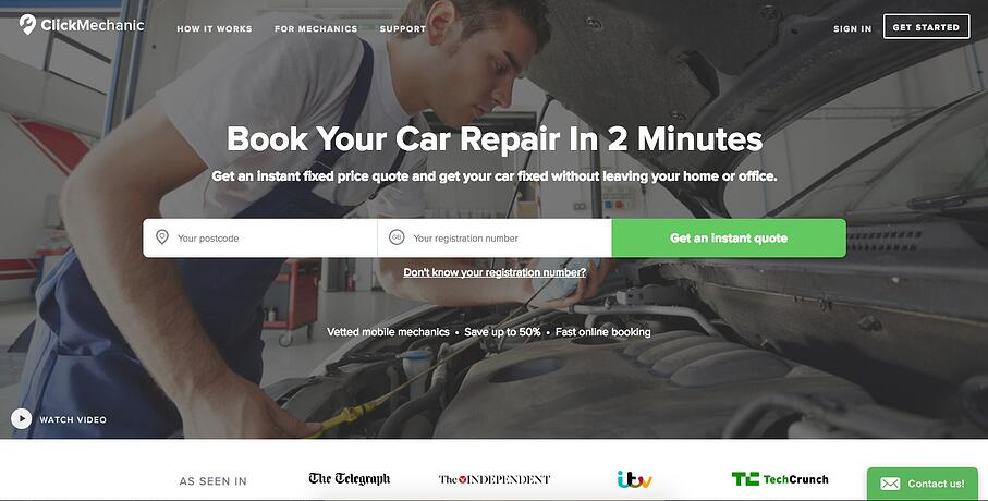 ClickMechanic, a UK-based automative repair service, uses Olark Live Chat website software for customer support.