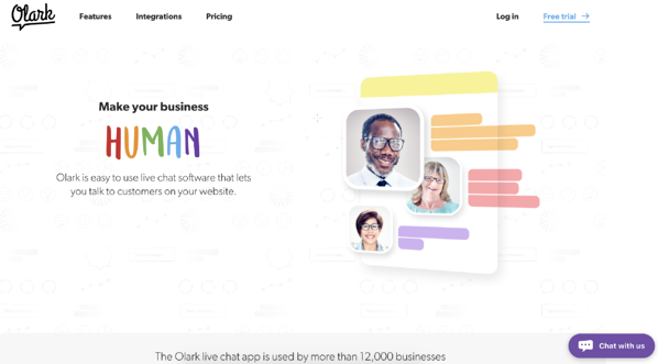"""The new Olark live chat software website, with a new brand and a tagline, """"Make business human."""""""