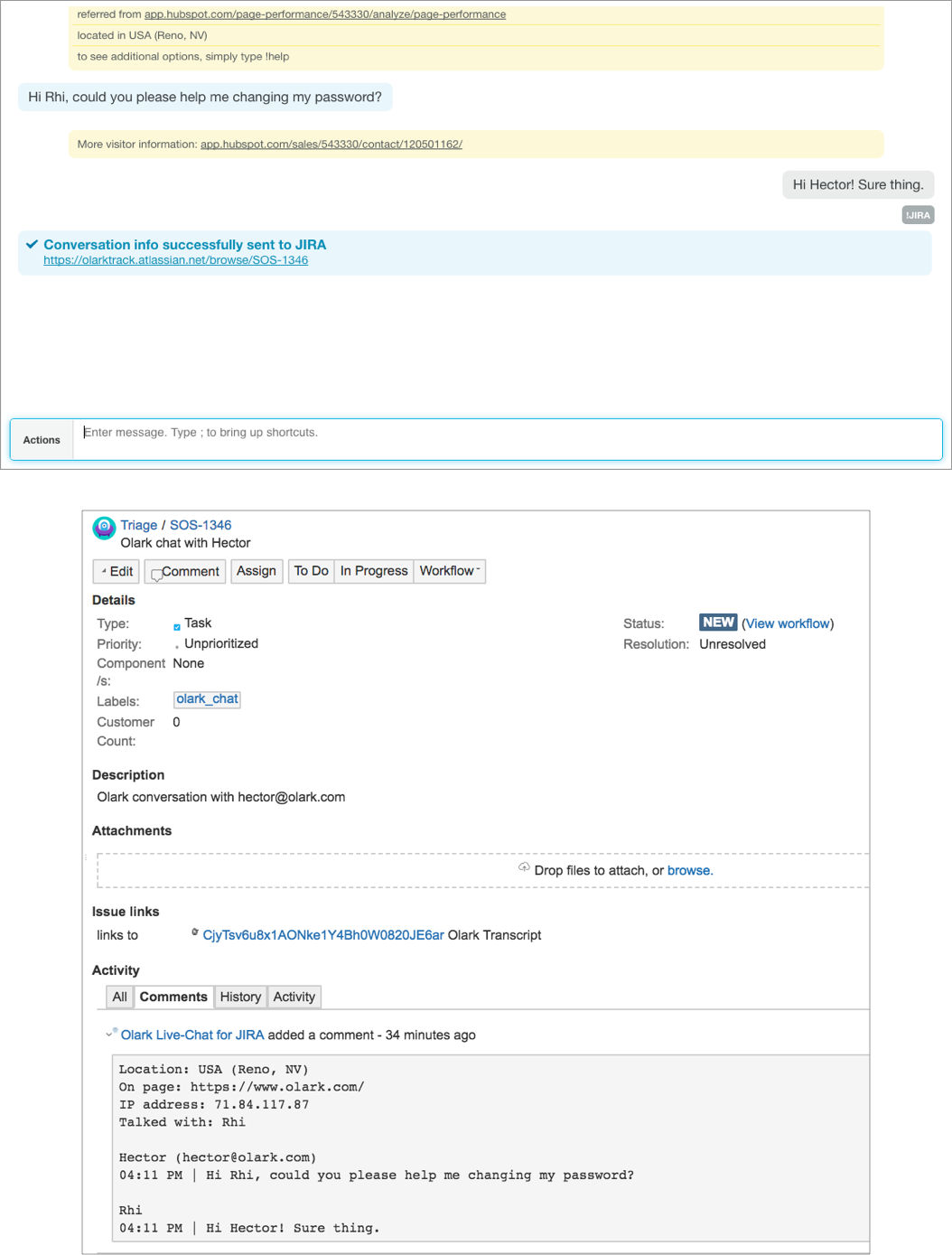 Example: Sending a live chat transcript to JIRA, and creating a JIRA ticket, with the !jira command.