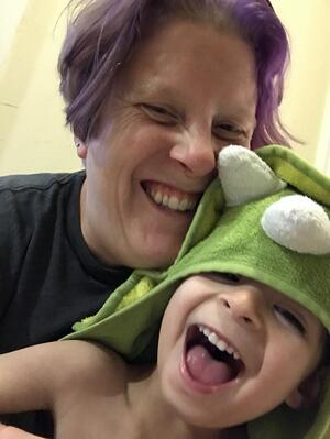 What being a mom taught me about customer support. An image of Barbara of Olark and her son Balan.