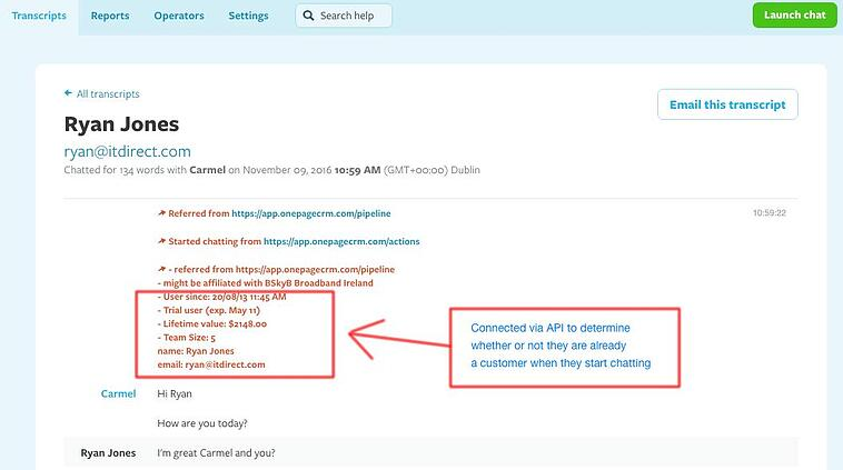 Connecting a CRM and Olark Live Chat will give your operators valuable customer insights.