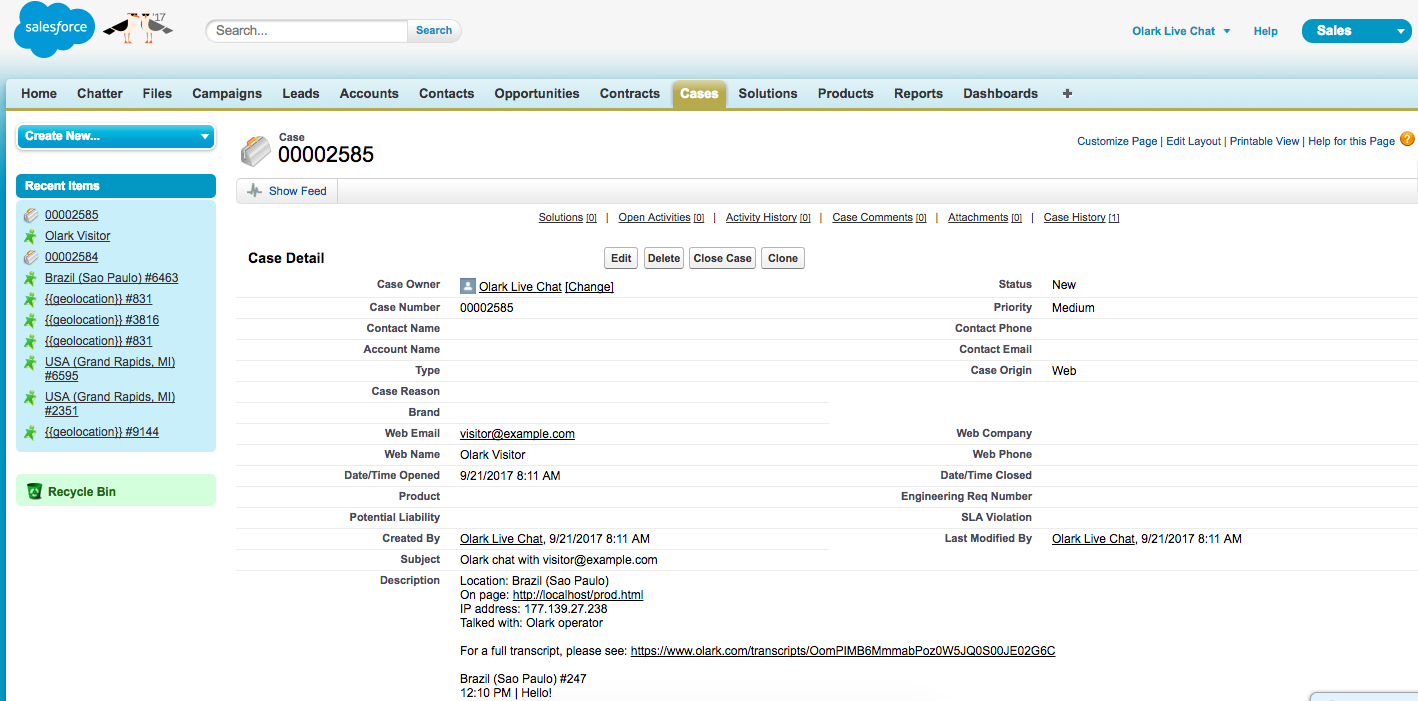 An image of the Salesforce integration with Olark. A live chat tagged as a case are sent directly to the CRM.