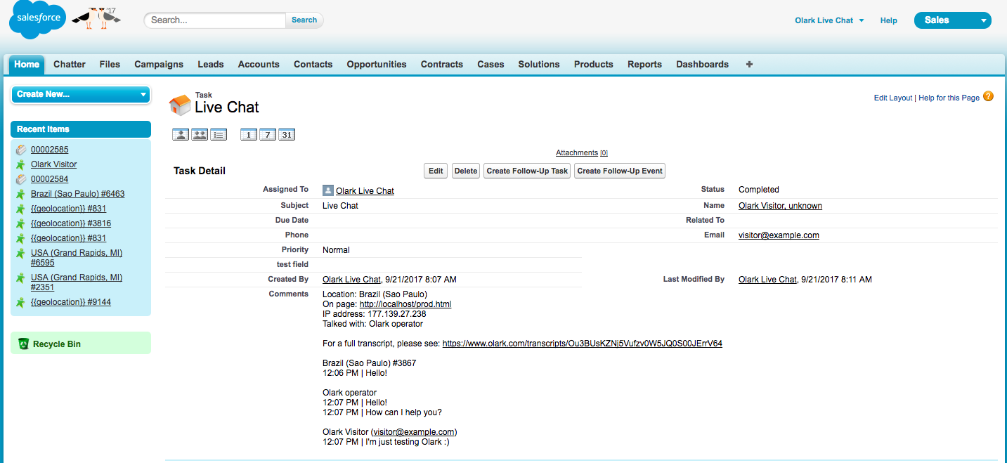 An image of the Olark live chat Salesforce integration. Chat conversations tagged as leads are attached as tasks to the lead in Salesforce.