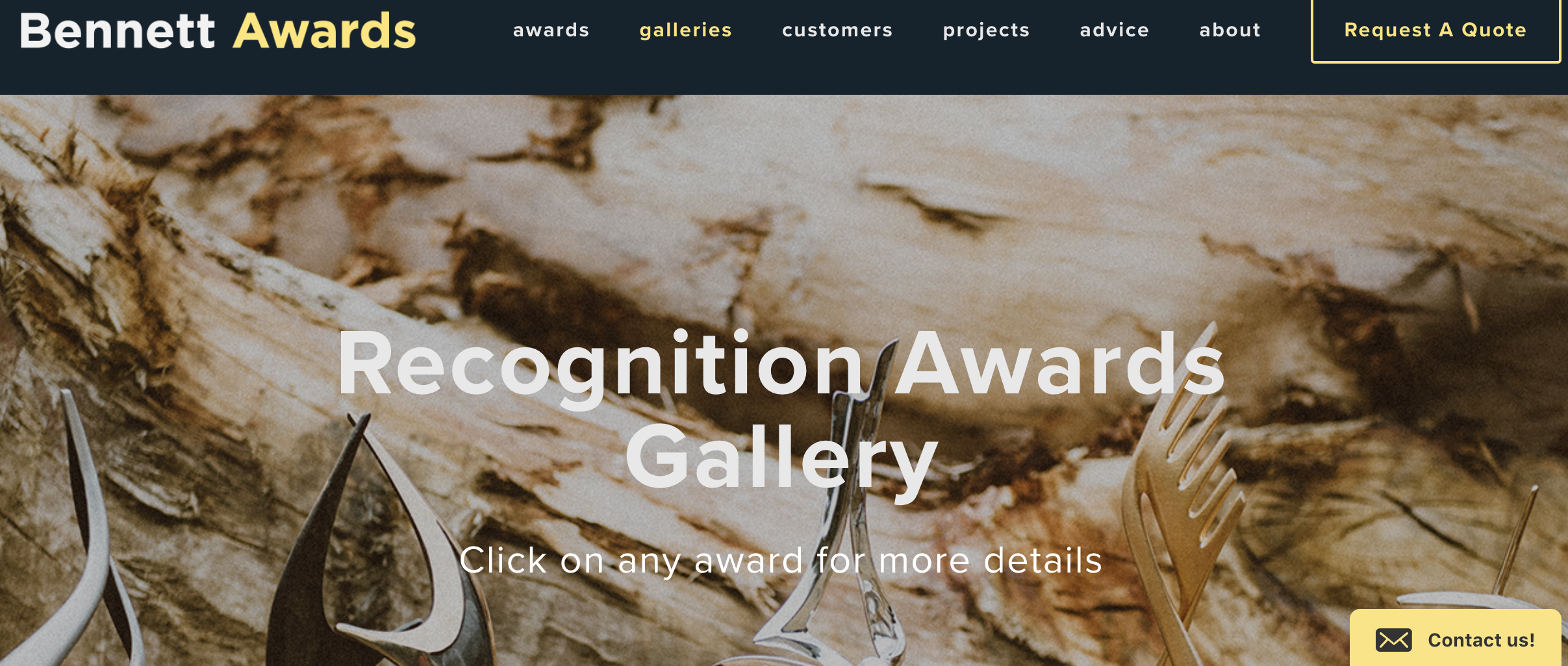 A gallery on the Bennett Awards Squarespace site, with the Olark offline email form in the lower right-hand corner.