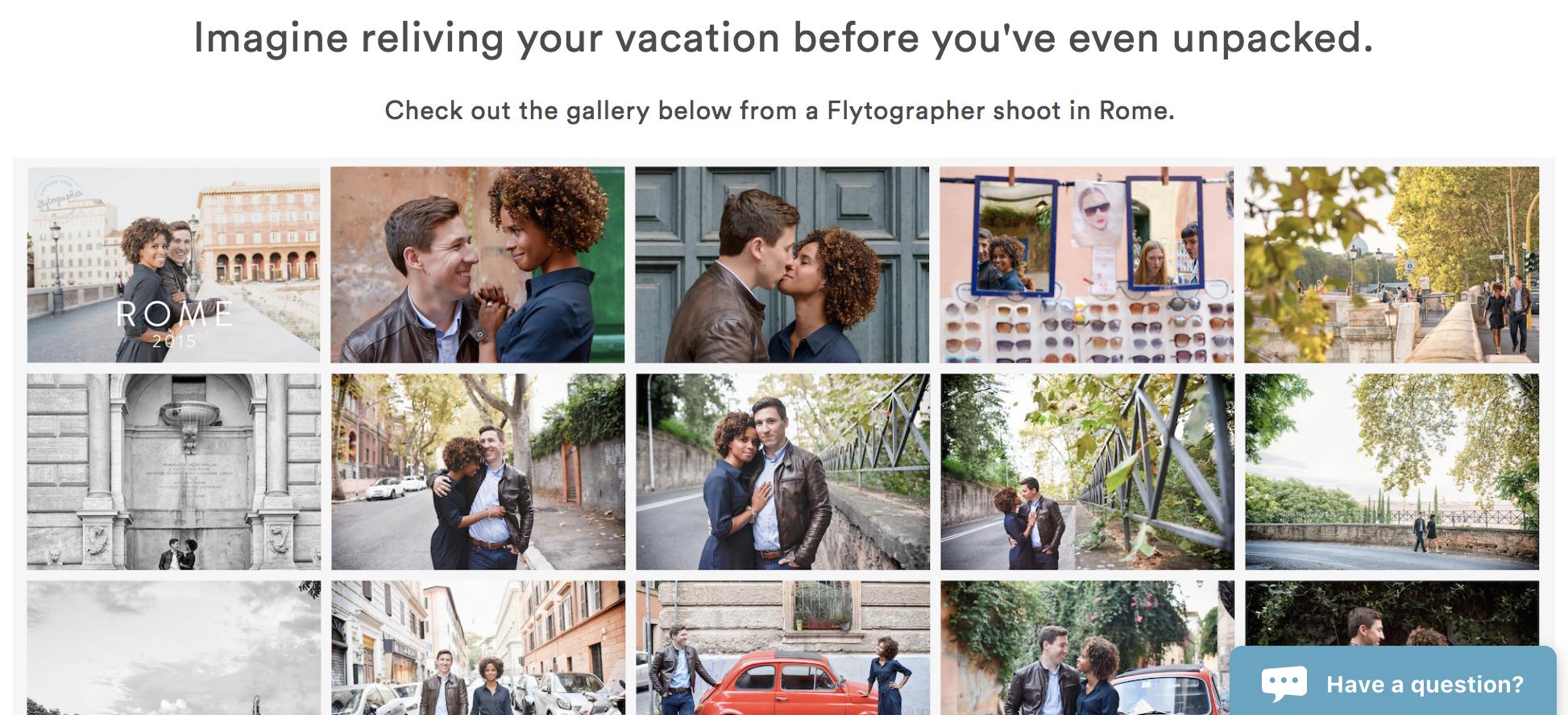 The Flytographer home page, featuring excerpts from a photo shoot, with the Olark chatbox in the lower right corner.