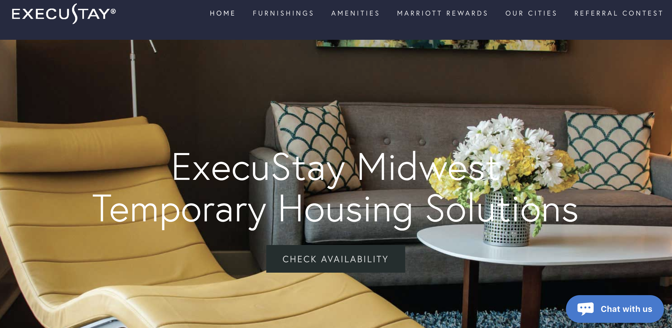 Home page for ExecuStay Midwest, one of Transition Group's companies, with the Olark chatbox in the lower right.
