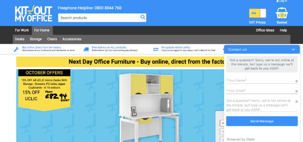 Kit Out My Office uses Olark live chat software on the homepage of its website to uncover new sales leads and support customers who need assistance.