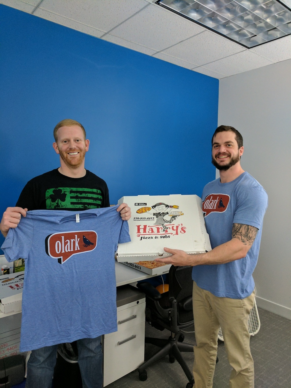 Pictured here: RiverMend staff with t-shirts from Olark live chat. The team works hard to provide the best customer support possible on live chat for potential clientele.