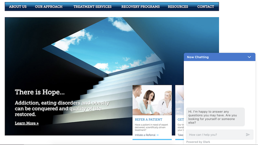 An image of the Olark live chat widget on a website for RiverMend Health.