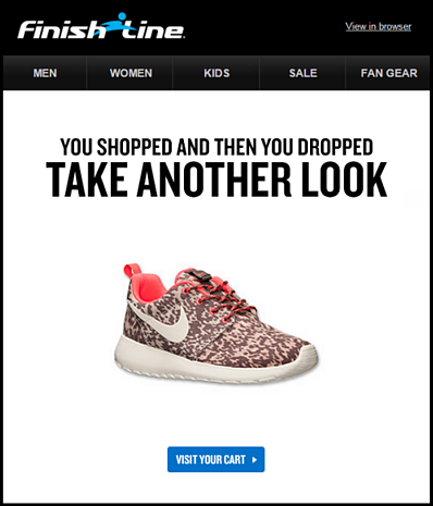 Finish line has an effective cart abandonment email system.