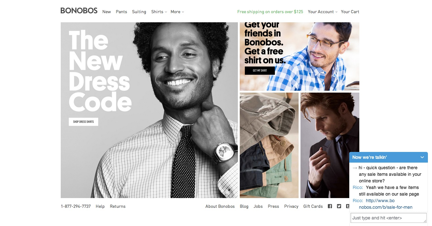 Bonobos has uses Olark Live Chat to help customers and increase sales.
