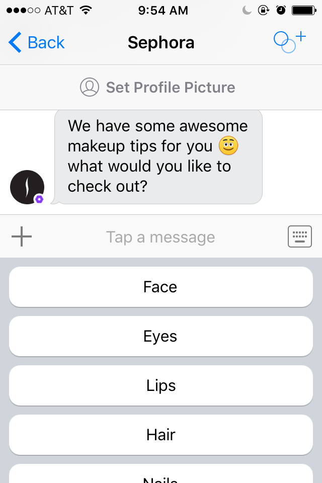 Chatting with the Sephora messenger bot in Kik.