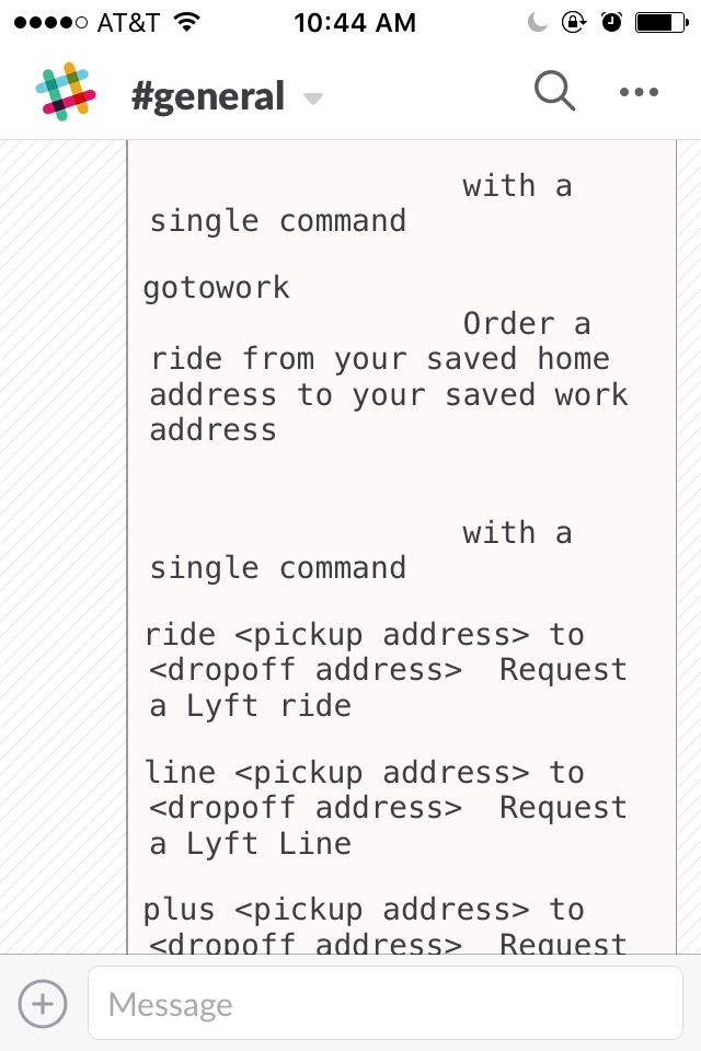 Even more Lyft bot commands in Slack.