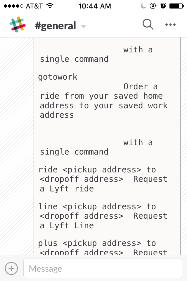Even more Lyft bot commands in Slack.