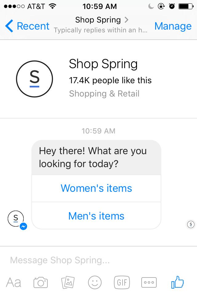 The Spring bot in Facebook Messenger.