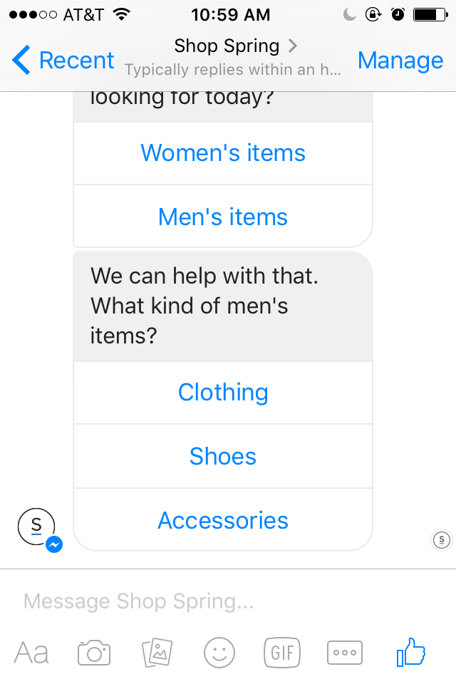 Use the Spring bot to buy pants in Facebook Messenger.