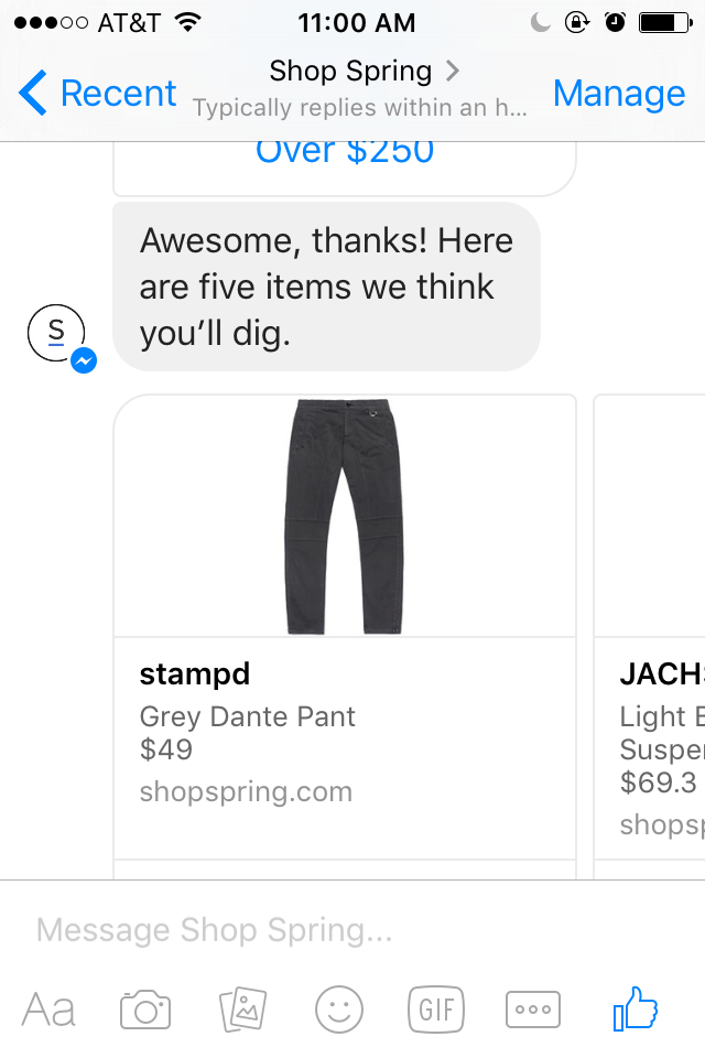 If you like picking pant sizes, you'll love this Spring messenger bot.