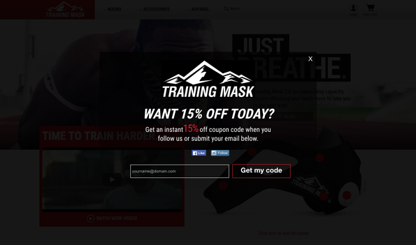 Training Mask offers new visitors a discount for signing up.