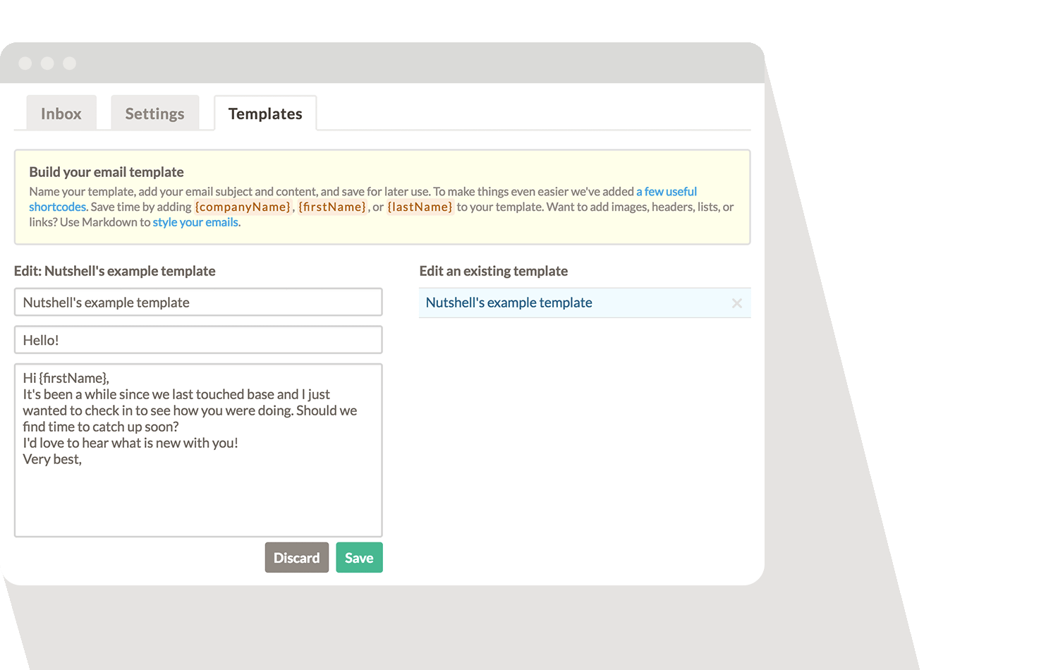 Nutshell users can create an email template to follow-up with leads on live chat.