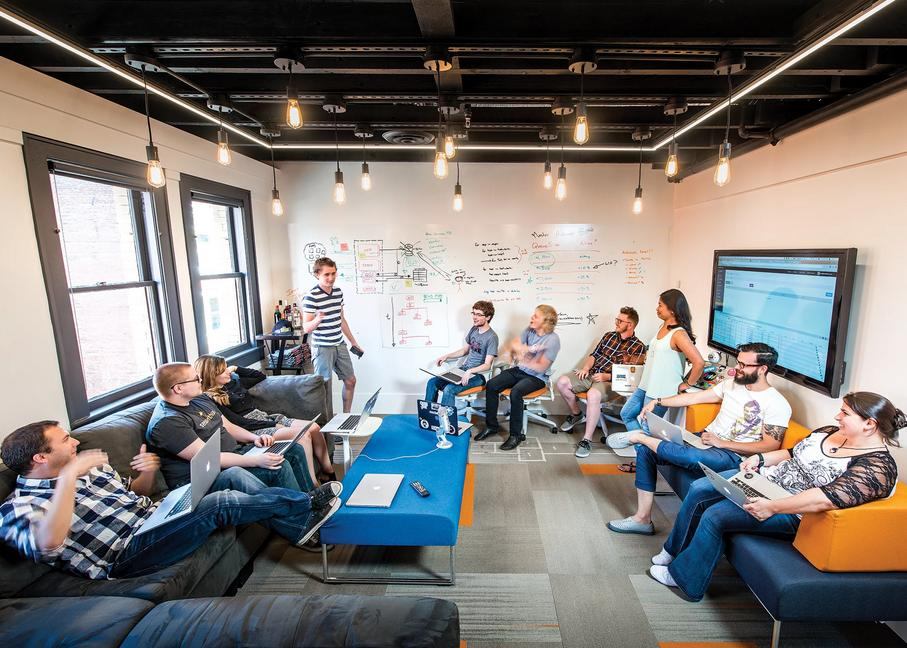 The sendwithus team in discussion.