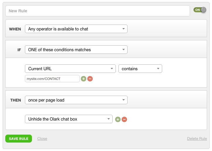 How to use Targeted Chat in Olark Live Chat to unhide a chat box on specific pages.