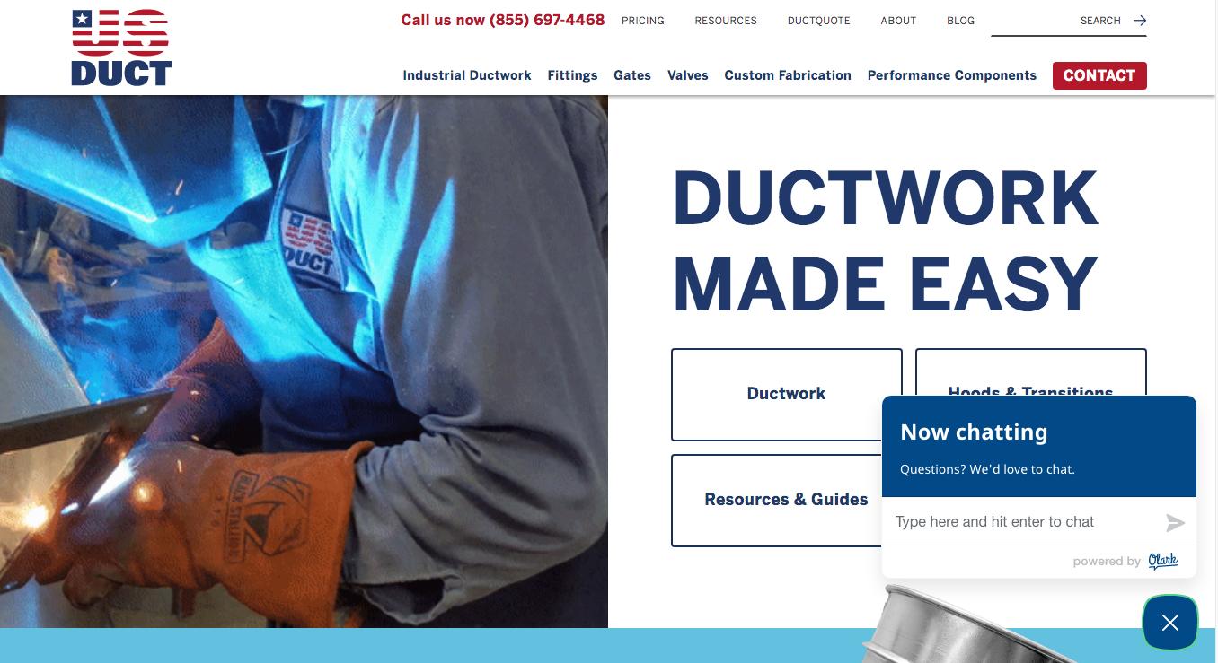 US Duct live chat homepage Olark Drupal