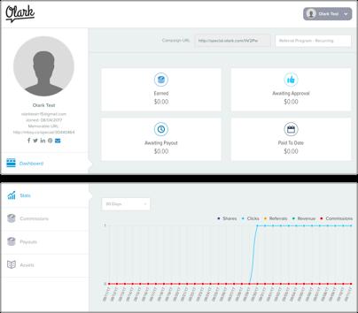 Snapshopt of the Olark affiliate dashboard
