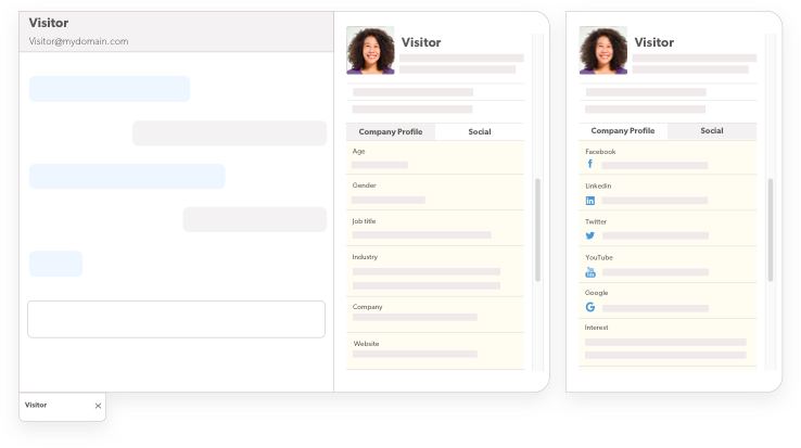 screenshot of the visitor insights powerups in the chat agent console