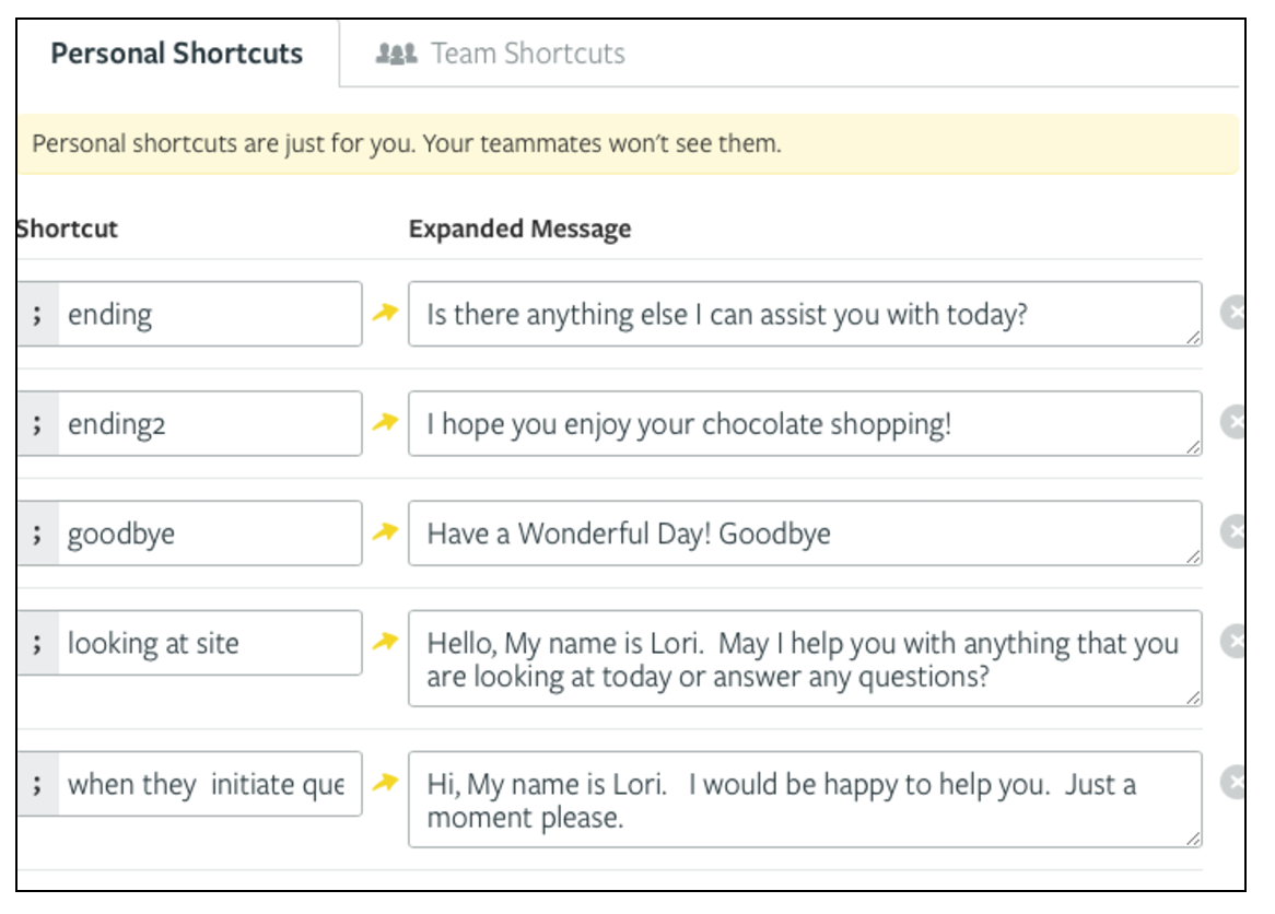 Live chat canned response examples from Maggie Louise Confections.