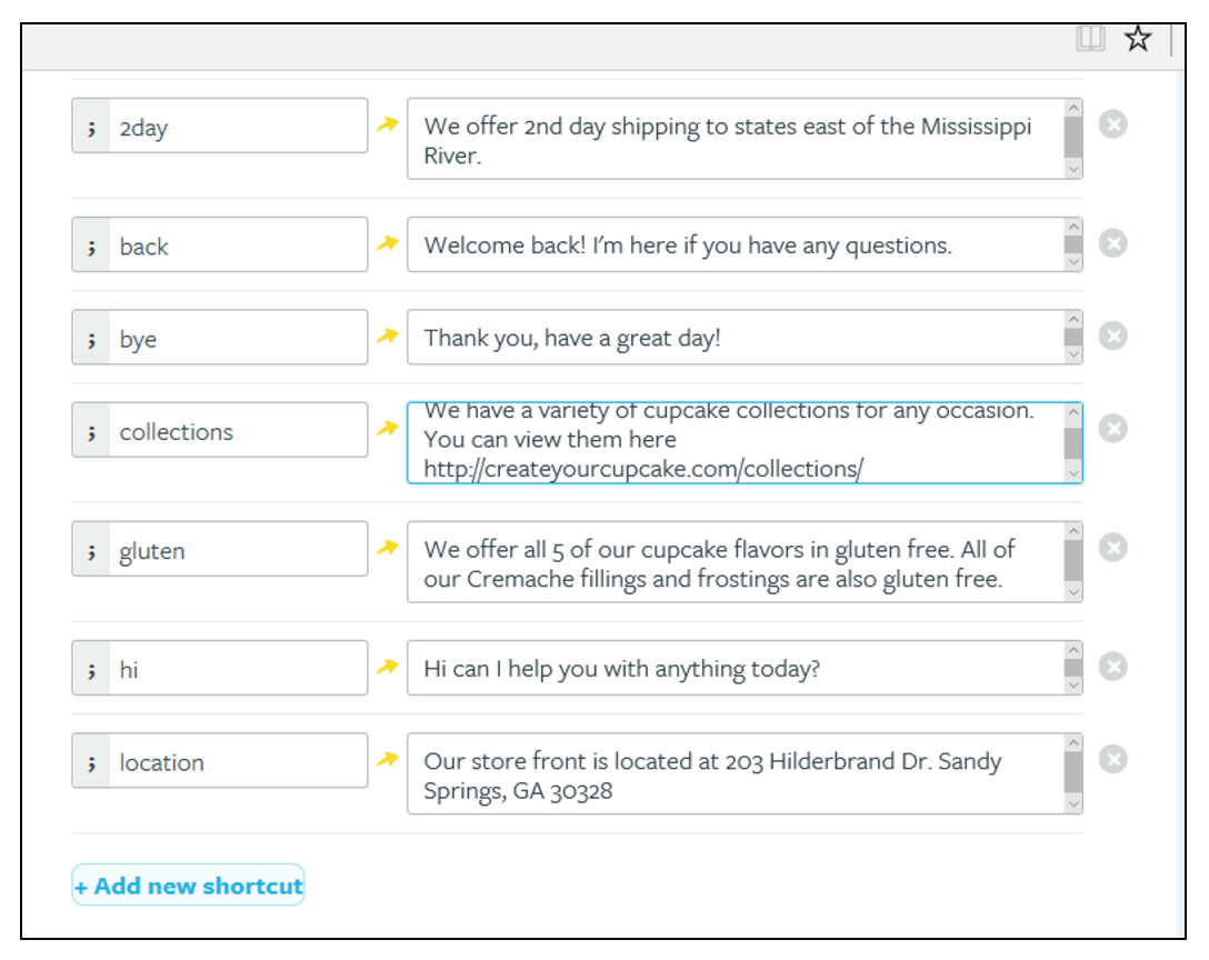 """Live chat canned response examples from Create Your Cupcake, answering questions like """"Where is your store located"""" and """"Do you offer gluten-free cupcakes?"""""""