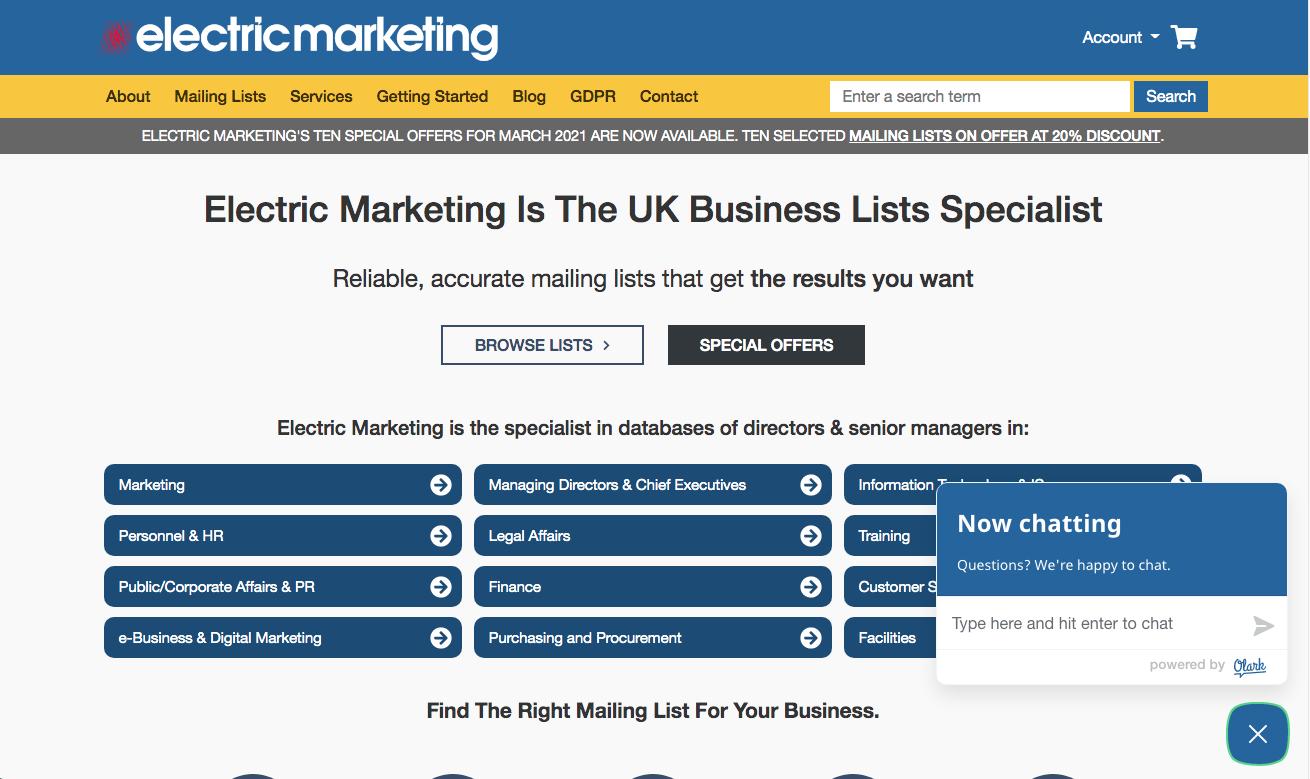 electric marketing Olark live chat Drupal