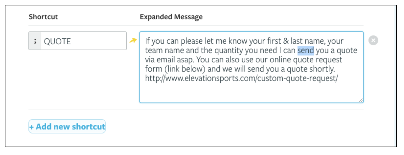 A powerful live chat canned response from Elevation Sports.