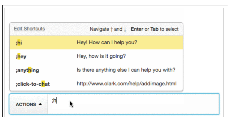 Canned responses appear in a menu above the chat textbox when an agent begins typing a Shortcut.