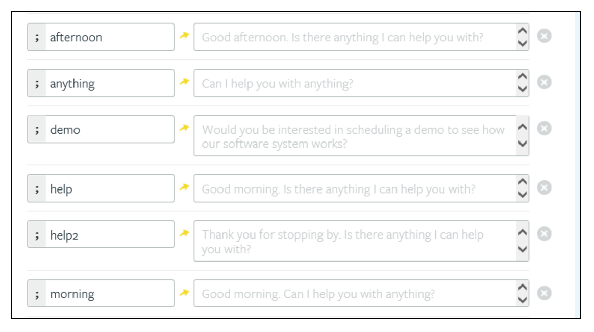 Live chat canned response examples from Systems4PT.
