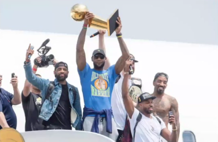 Lebron James of the Cleveland Cavaliers wears an Ultimate Warrior t-shirt from Homage.